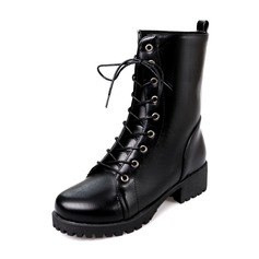 Women's PU Chunky Heel Boots Mid-Calf Boots Martin Boots With Lace-up shoes
