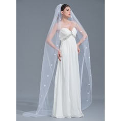 One-tier Beaded Edge Chapel Bridal Veils With Beading (006109867)