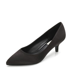 Women's Satin Stiletto Heel Pumps Closed Toe With Others shoes (085155259)