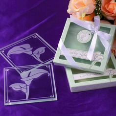 "Calla Lilies"" Floral Frosted-Glass Coasters (set of 2pcs)"
