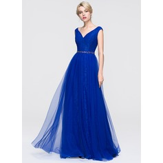 A-Line/Princess V-neck Floor-Length Tulle Prom Dress With Beading Sequins (018089897)