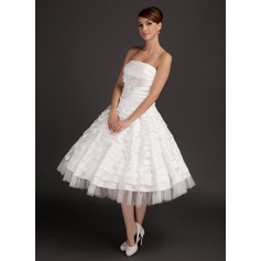 A-Line/Princess Strapless Tea-Length Taffeta Wedding Dress With Ruffle Beading Appliques Lace