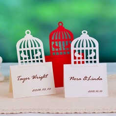 Pretty Birdcage Shaped Pearl Paper Place Cards (set of 12)