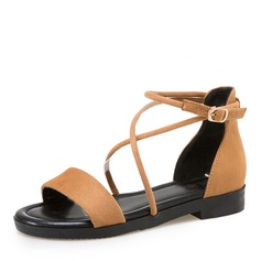 Women's Suede Flat Heel Sandals Flats Peep Toe Slingbacks With Buckle Lace-up shoes