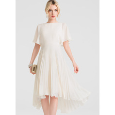 A-Line Scoop Neck Asymmetrical Chiffon Cocktail Dress With Pleated (016150211)
