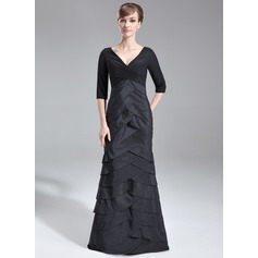 Trumpet/Mermaid V-neck Sweep Train Chiffon Taffeta Mother of the Bride Dress With Ruffle