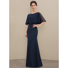 Sheath/Column Scoop Neck Floor-Length Jersey Evening Dress With Beading