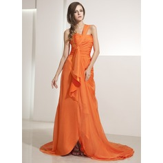 A-Line/Princess One-Shoulder Asymmetrical Chiffon Evening Dress With Beading Sequins Cascading Ruffles