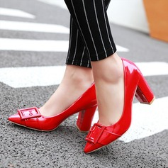 Women's Patent Leather Chunky Heel Pumps Closed Toe With Buckle shoes (085117322)