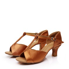 Women's Satin Heels Sandals Latin With T-Strap Buckle Hollow-out Dance Shoes
