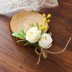 Comely Free-Form Silk Flower Boutonniere - Boutonniere