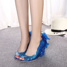 Women's PVC Wedge Heel Sandals Pumps Wedges Peep Toe With Rivet Flower shoes
