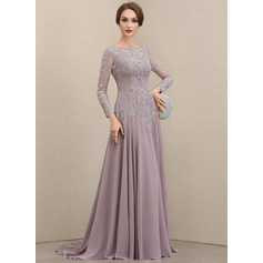 A-Line Scoop Neck Sweep Train Chiffon Lace Mother of the Bride Dress With Sequins