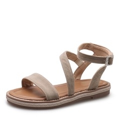 Frauen Veloursleder Flascher Absatz Sandalen Flache Schuhe mit Schnalle Schuhe