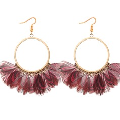 Mode Feather Cuivre avec Feather Femmes Boucles d'oreille de mode (Lot de 2)