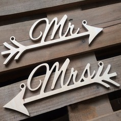 """MR & MRS"" De madeira wedding Registe- (conjunto de 2)"