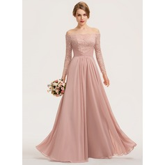 A-Line Off-the-Shoulder Floor-Length Chiffon Lace Evening Dress With Ruffle (017211406)
