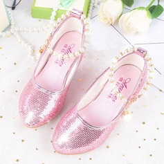 Girl's Leatherette Flat Heel Round Toe Flats With Imitation Pearl Rhinestone