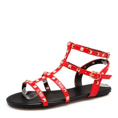 Women's Patent Leather Flat Heel Sandals Flats With Rivet shoes
