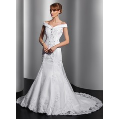 Trumpet/Mermaid Off-the-Shoulder Chapel Train Satin Organza Wedding Dress With Ruffle Appliques Lace Sequins