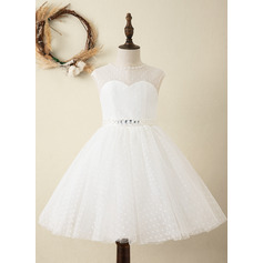 A-Line Knee-length Flower Girl Dress - Satin/Tulle Sleeveless Scoop Neck With Sash/Beading (Detachable sash) (010220965)