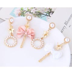 Shining Alloy Imitation Pearls Cloth Fashion Earrings