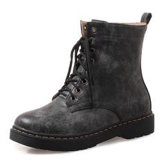 Donna Similpelle Senza tacco Ballerine Punta chiusa Stivali Stivali alla caviglia Stivali altezza media Martin boots Stivali da equitazione con Allacciato scarpe