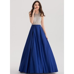 Ball-Gown Halter Floor-Length Satin Prom Dress With Beading Sequins (018138329)