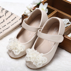 Girl's Closed Toe Leatherette Flat Heel Flower Girl Shoes With Bowknot Rhinestone (207095554)