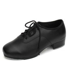 Kids' Real Leather Heels Tap With Lace-up Dance Shoes