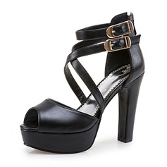 Women's PU Chunky Heel Sandals Pumps Platform Peep Toe With Buckle shoes