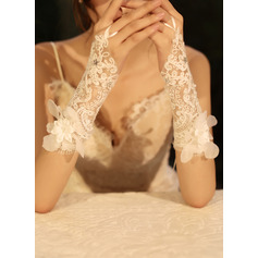 Tulle/Lace Wrist Length Bridal Gloves With Rhinestone/Imitation Pearls