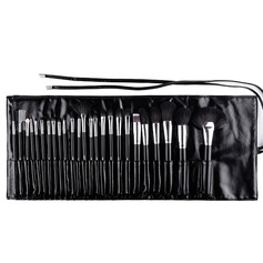 Artificial Fibre 25Pcs Black PU Bag Makeup Supply