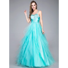 Ball-Gown Sweetheart Floor-Length Tulle Prom Dress With Beading Sequins Cascading Ruffles