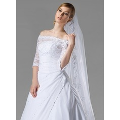 One-tier Lace Applique Edge Cathedral Bridal Veils With Applique/Sequin