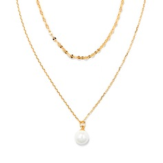 18k Gold Plated Silver Double Pearl Pendant Necklace - Birthday Gifts Mother's Day Gifts (288209417)
