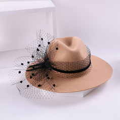 Ladies' Glamourous/Simple/Nice Wool With Tulle Floppy Hats