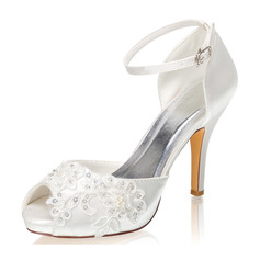 Women's Silk Like Satin Stiletto Heel Peep Toe Platform Pumps With Buckle Rhinestone Applique Pearl