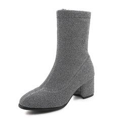 De mujer Ante Tacón ancho Botas Botas longitud media zapatos