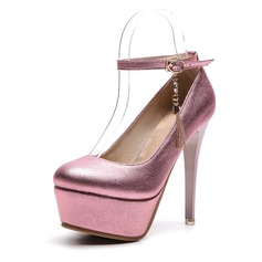 Frauen PVC Stöckel Absatz Absatzschuhe Plateauschuh mit Schnalle Schuhe