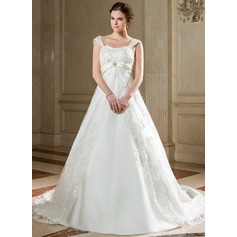 Empire Sweetheart Chapel Train Tulle Wedding Dress With Lace Sash Beading Sequins