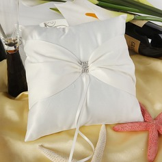 Beautiful Ring Pillow With Ribbons/Rhinestones