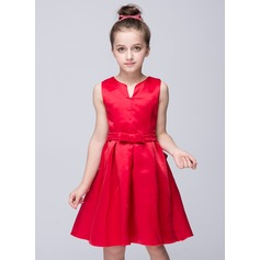 Knee-length Flower Girl Dress - Polyester Sleeveless Sweetheart With Bow(s)