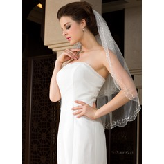 Two-tier Beaded Edge Elbow Bridal Veils With Beading/Sequin (006036620)