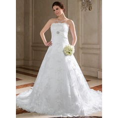 A-Line/Princess Strapless Chapel Train Lace Wedding Dress With Sash Beading Crystal Brooch Sequins