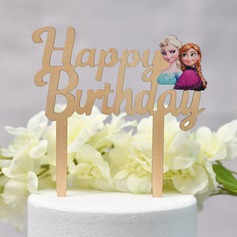 It's a Girl/Happy Birthday Wood Cake Topper (Sold in a single piece)