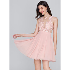 A-Line/Princess Scoop Neck Short/Mini Chiffon Homecoming Dress (022124837)