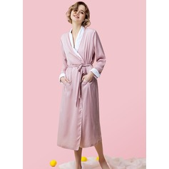 Casual Elegant Solid Color Silk / Cotton Robe