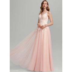 A-Line Sweetheart Floor-Length Tulle Prom Dresses With Sequins (018224391)
