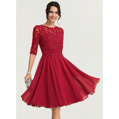 A-Line/Princess Scoop Neck Knee-Length Chiffon Cocktail Dress With Beading (016170892)